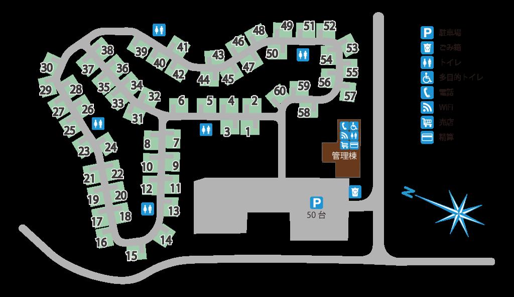 佐渡関岬オートキャンプ場 サイト案内図